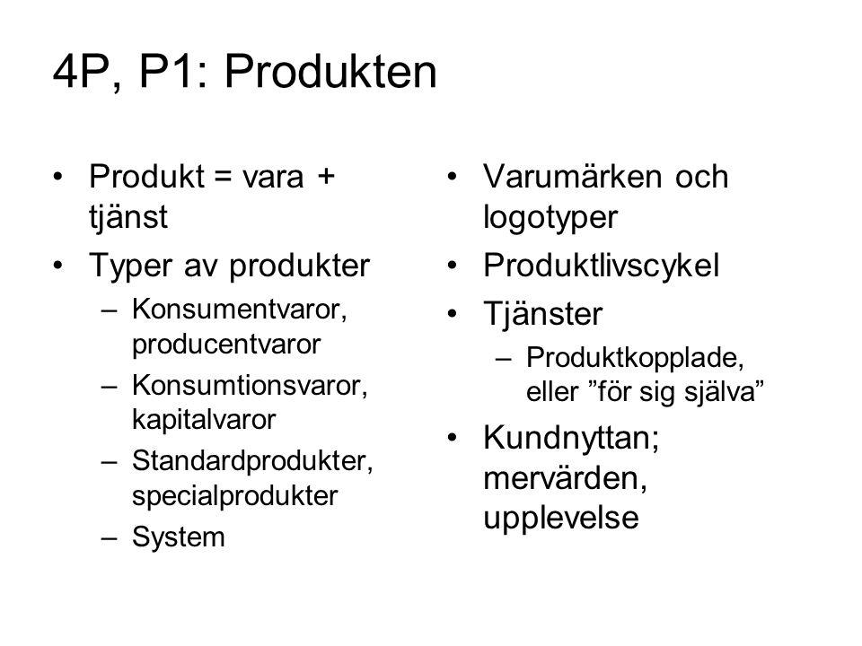 4P, P1: Produkten •Produkt = vara + tjänst •Typer av produkter –Konsumentvaror, producentvaror –Konsumtionsvaror, kapitalvaror –Standardprodukter, spe