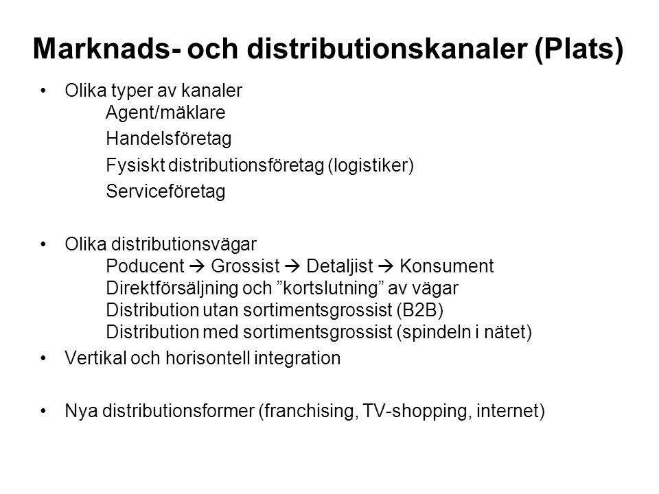 Marknads- och distributionskanaler (Plats) •Olika typer av kanaler Agent/mäklare Handelsföretag Fysiskt distributionsföretag (logistiker) Serviceföretag •Olika distributionsvägar Poducent  Grossist  Detaljist  Konsument Direktförsäljning och kortslutning av vägar Distribution utan sortimentsgrossist (B2B) Distribution med sortimentsgrossist (spindeln i nätet) •Vertikal och horisontell integration •Nya distributionsformer (franchising, TV-shopping, internet)