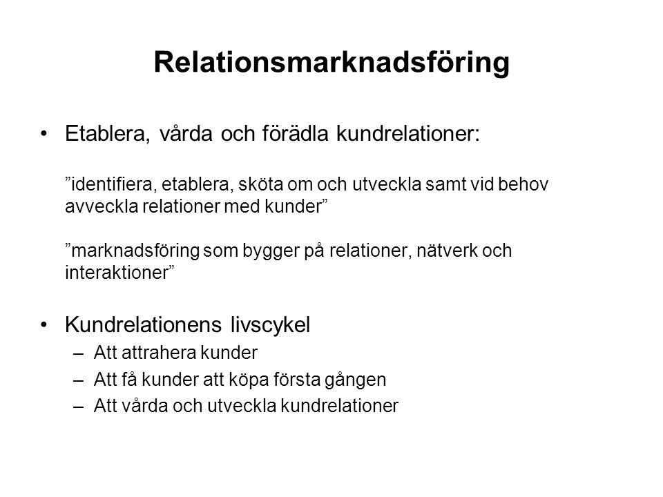 Relationsmarknadsföring •Etablera, vårda och förädla kundrelationer: identifiera, etablera, sköta om och utveckla samt vid behov avveckla relationer med kunder marknadsföring som bygger på relationer, nätverk och interaktioner •Kundrelationens livscykel –Att attrahera kunder –Att få kunder att köpa första gången –Att vårda och utveckla kundrelationer
