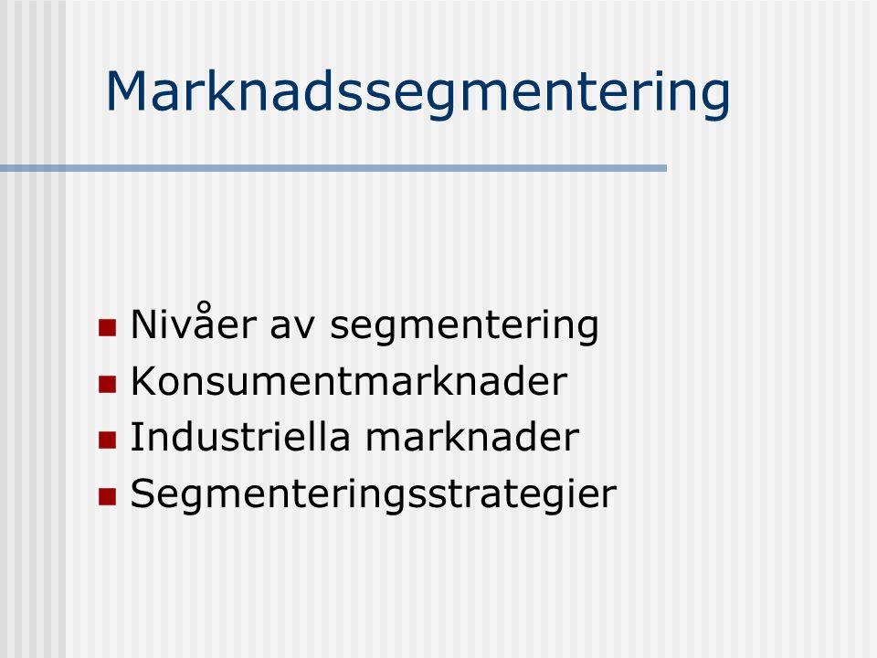 Marknadssegmentering  Nivåer av segmentering  Konsumentmarknader  Industriella marknader  Segmenteringsstrategier