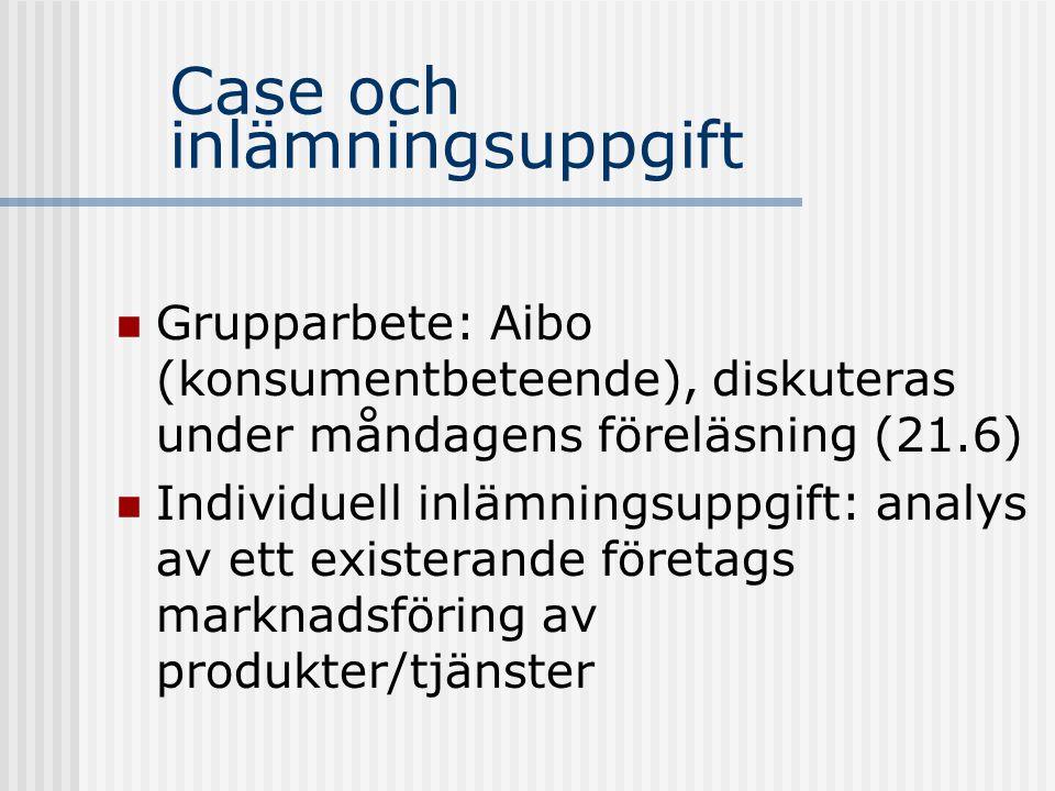 Case och inlämningsuppgift  Grupparbete: Aibo (konsumentbeteende), diskuteras under måndagens föreläsning (21.6)  Individuell inlämningsuppgift: ana