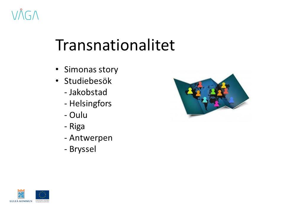 Transnationalitet • Simonas story • Studiebesök - Jakobstad - Helsingfors - Oulu - Riga - Antwerpen - Bryssel