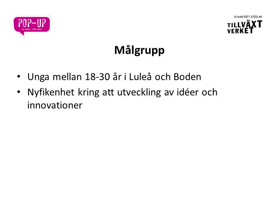 Målgrupp • Unga mellan 18-30 år i Luleå och Boden • Nyfikenhet kring att utveckling av idéer och innovationer