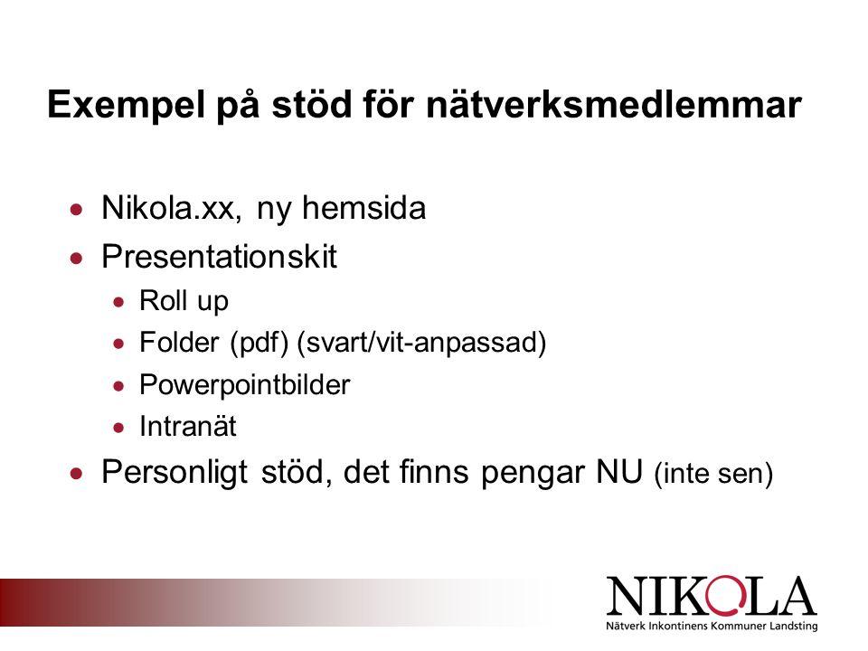 Exempel på stöd för nätverksmedlemmar  Nikola.xx, ny hemsida  Presentationskit  Roll up  Folder (pdf) (svart/vit-anpassad)  Powerpointbilder  Intranät  Personligt stöd, det finns pengar NU (inte sen)