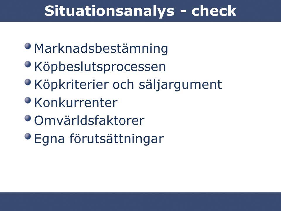 Situationsanalys - check Marknadsbestämning Köpbeslutsprocessen Köpkriterier och säljargument Konkurrenter Omvärldsfaktorer Egna förutsättningar