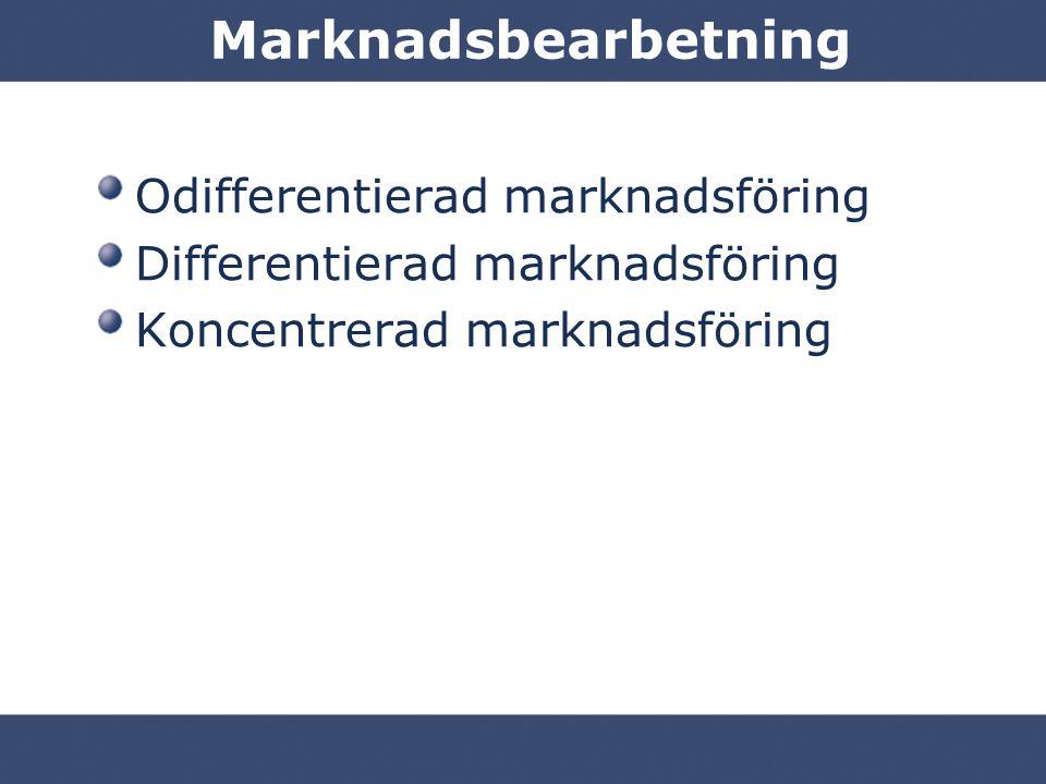Marknadsbearbetning Odifferentierad marknadsföring Differentierad marknadsföring Koncentrerad marknadsföring