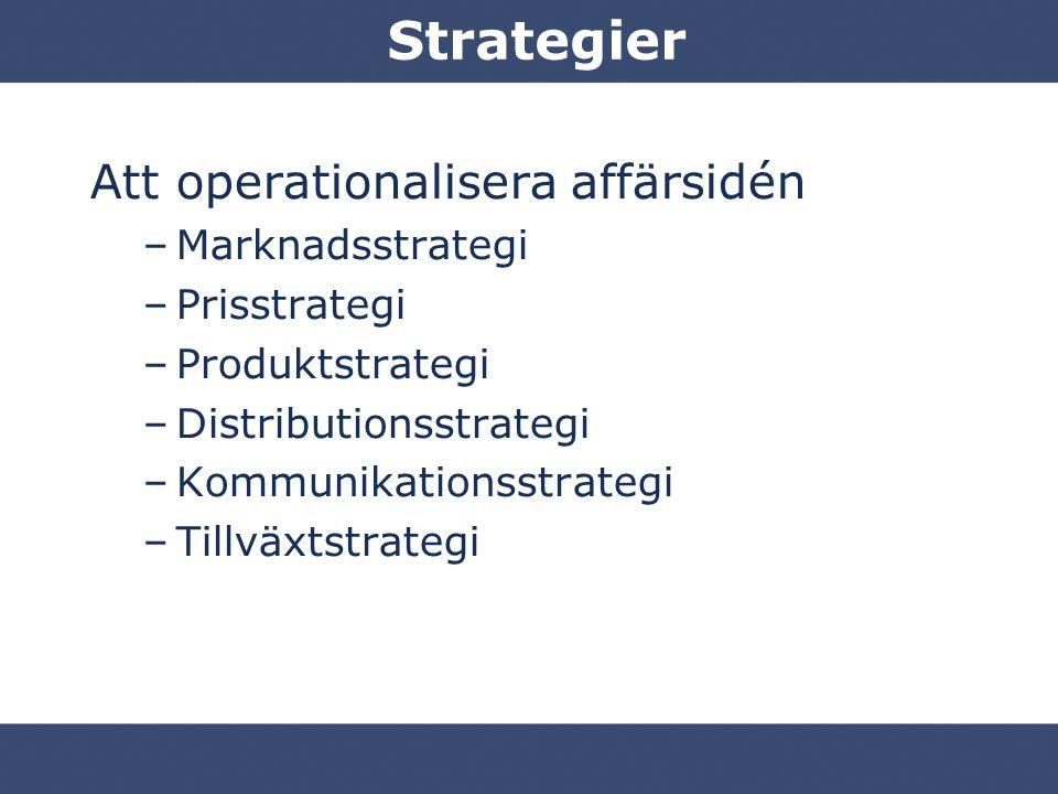 Strategier Att operationalisera affärsidén –Marknadsstrategi –Prisstrategi –Produktstrategi –Distributionsstrategi –Kommunikationsstrategi –Tillväxtstrategi