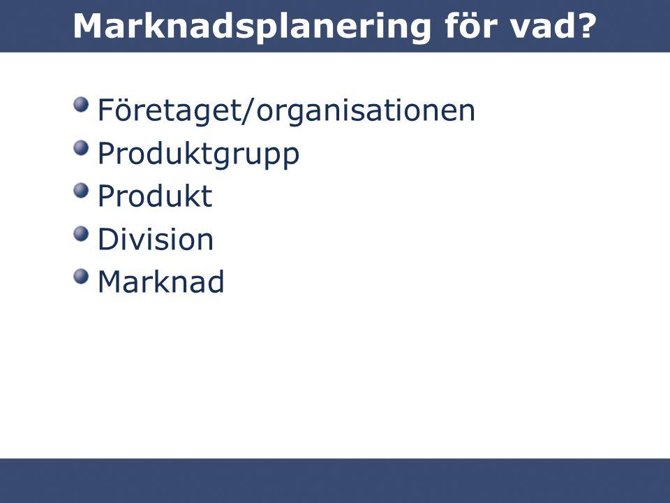 Marknadsplanering för vad? Företaget/organisationen Produktgrupp Produkt Division Marknad