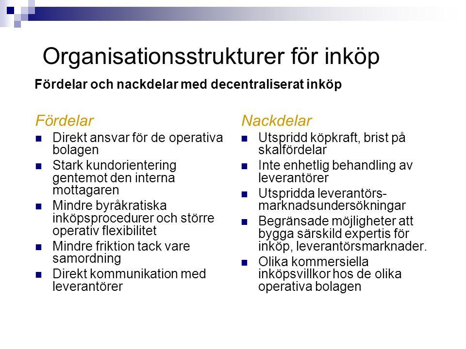 Fördelar  Direkt ansvar för de operativa bolagen  Stark kundorientering gentemot den interna mottagaren  Mindre byråkratiska inköpsprocedurer och s