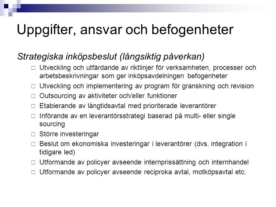 Uppgifter, ansvar och befogenheter Strategiska inköpsbeslut (långsiktig påverkan)  Utveckling och utfärdande av riktlinjer för verksamheten, processe