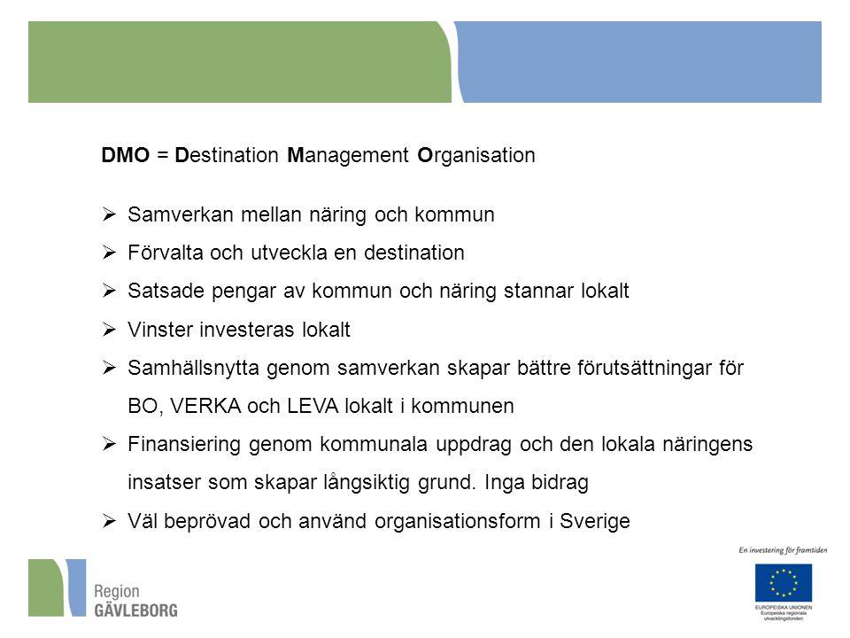 DMO = Destination Management Organisation  Samverkan mellan näring och kommun  Förvalta och utveckla en destination  Satsade pengar av kommun och n