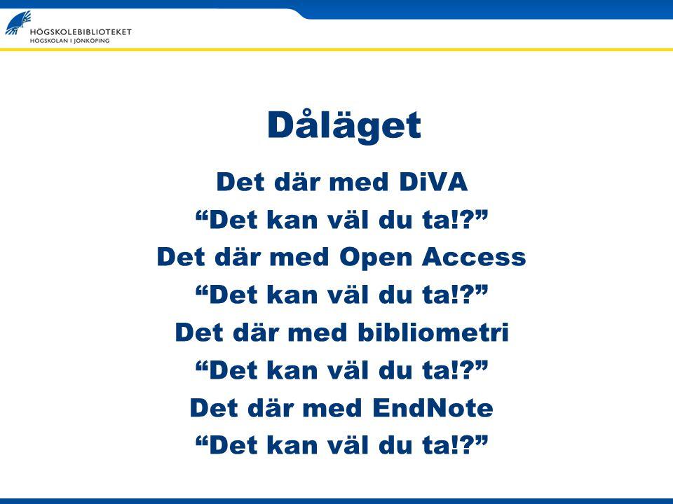 Dåläget Det där med DiVA Det kan väl du ta!? Det där med Open Access Det kan väl du ta!? Det där med bibliometri Det kan väl du ta!? Det där med EndNote Det kan väl du ta!?