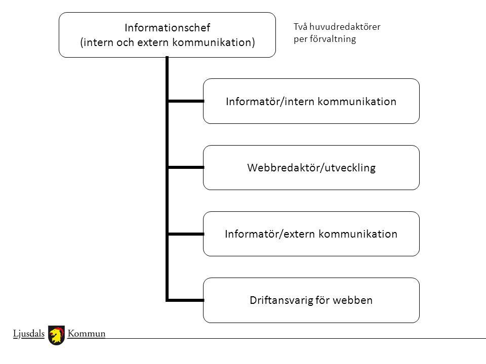 Informationschef (intern och extern kommunikation) Informatör/intern kommunikation Webbredaktör/utveckling Informatör/extern kommunikation Driftansvar