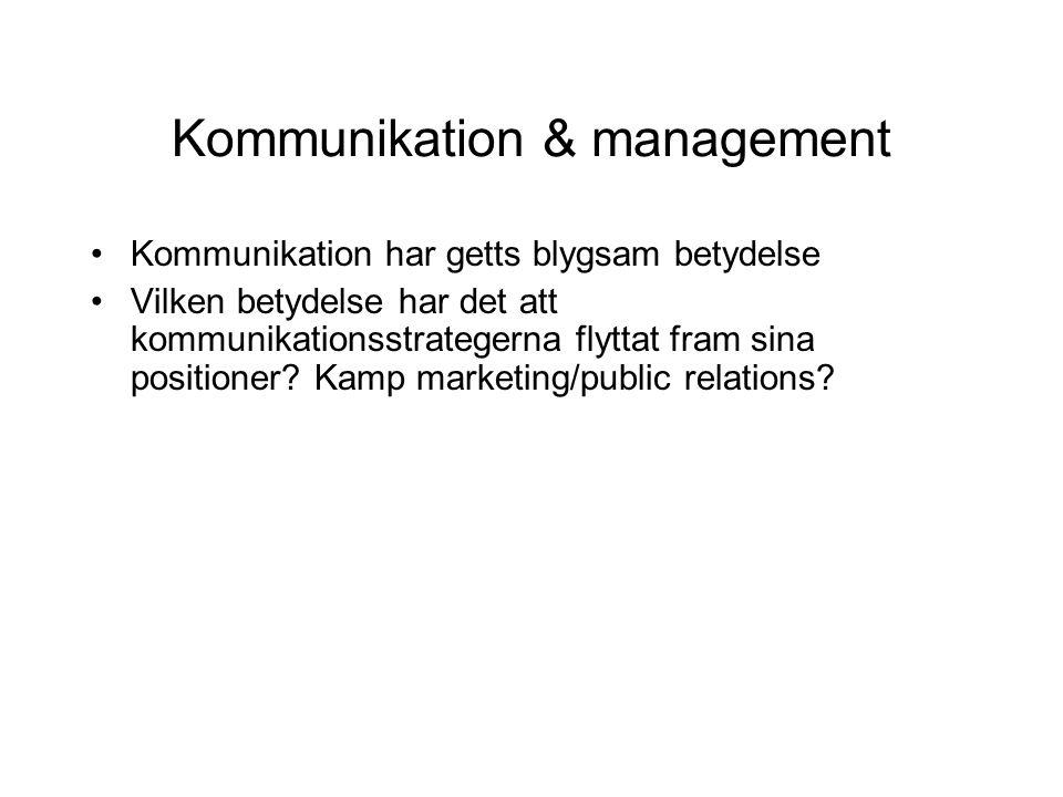 Kommunikation & management •Kommunikation har getts blygsam betydelse •Vilken betydelse har det att kommunikationsstrategerna flyttat fram sina positi