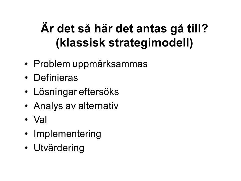 Är det så här det antas gå till? (klassisk strategimodell) •Problem uppmärksammas •Definieras •Lösningar eftersöks •Analys av alternativ •Val •Impleme