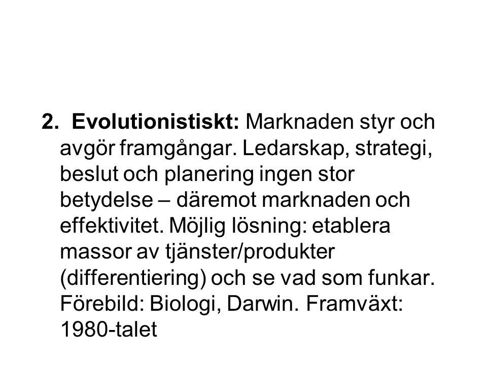 2. Evolutionistiskt: Marknaden styr och avgör framgångar. Ledarskap, strategi, beslut och planering ingen stor betydelse – däremot marknaden och effek