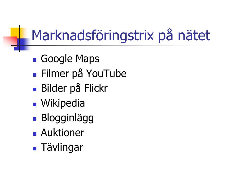 Marknadsföringstrix på nätet  Google Maps  Filmer på YouTube  Bilder på Flickr  Wikipedia  Blogginlägg  Auktioner  Tävlingar