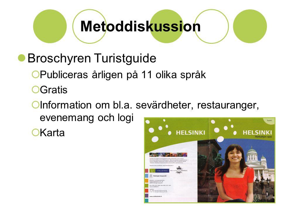Metoddiskussion  Broschyren Turistguide  Publiceras årligen på 11 olika språk  Gratis  Information om bl.a.