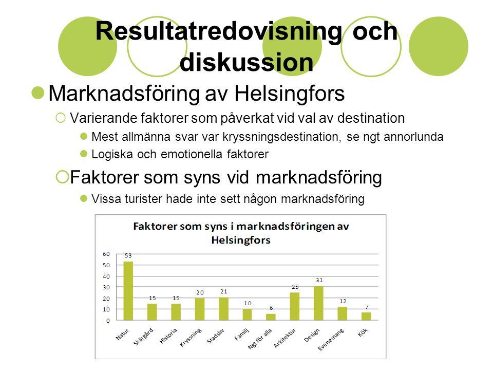 Resultatredovisning och diskussion  Marknadsföring av Helsingfors  Varierande faktorer som påverkat vid val av destination  Mest allmänna svar var kryssningsdestination, se ngt annorlunda  Logiska och emotionella faktorer  Faktorer som syns vid marknadsföring  Vissa turister hade inte sett någon marknadsföring