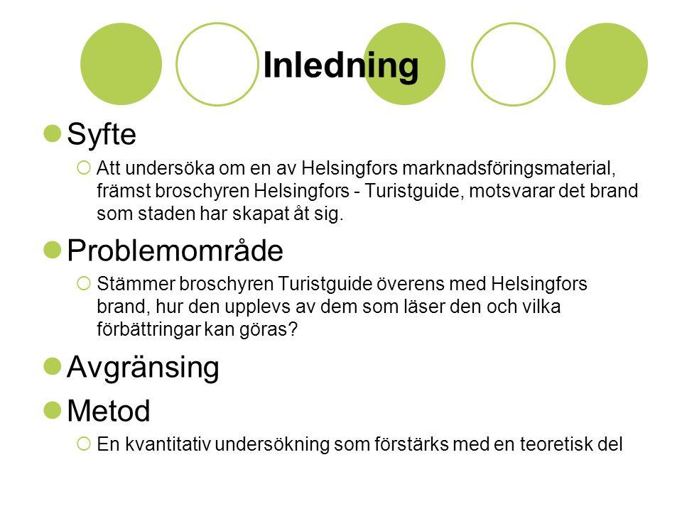 Inledning  Syfte  Att undersöka om en av Helsingfors marknadsföringsmaterial, främst broschyren Helsingfors - Turistguide, motsvarar det brand som staden har skapat åt sig.