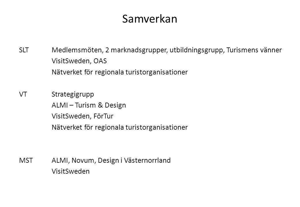 Samverkan SLTMedlemsmöten, 2 marknadsgrupper, utbildningsgrupp, Turismens vänner VisitSweden, OAS Nätverket för regionala turistorganisationer VTStrat
