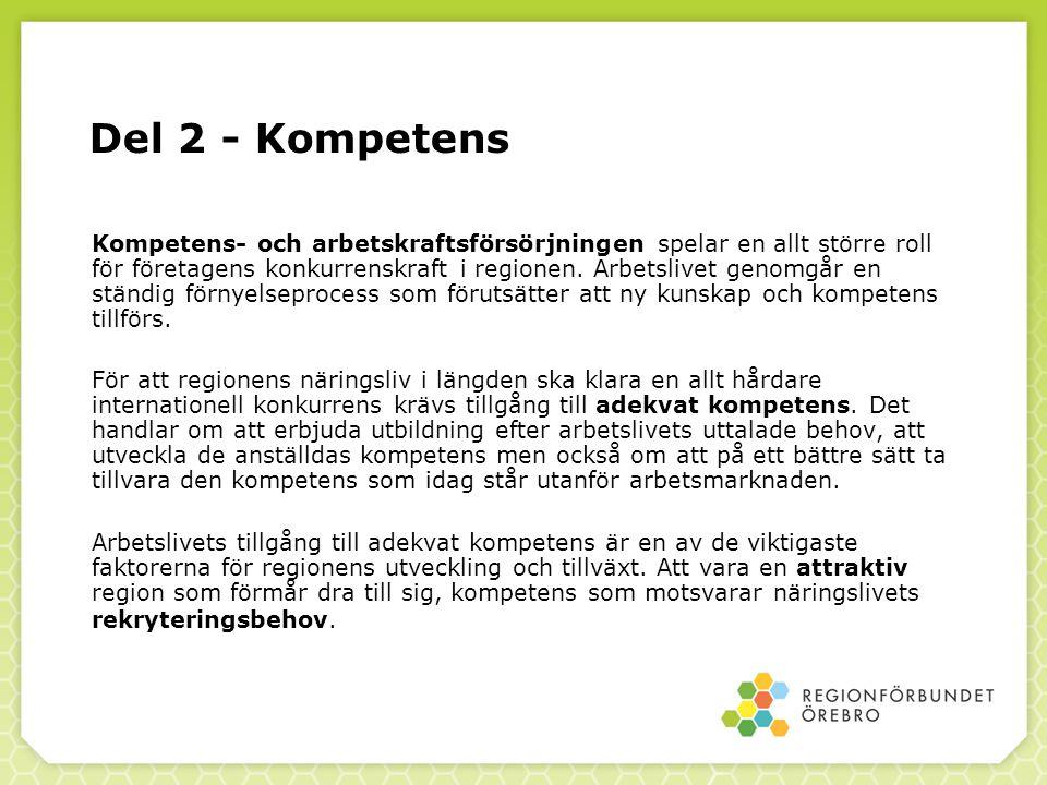 Del 2 - Kompetens Kompetens- och arbetskraftsförsörjningen spelar en allt större roll för företagens konkurrenskraft i regionen. Arbetslivet genomgår
