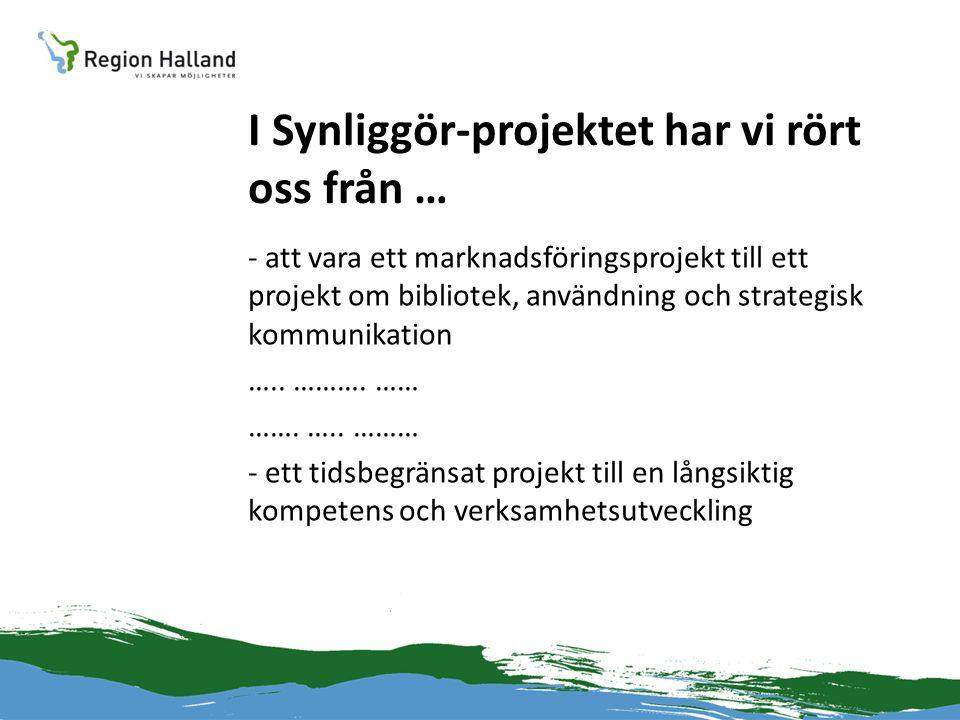 I Synliggör-projektet har vi rört oss från … - att vara ett marknadsföringsprojekt till ett projekt om bibliotek, användning och strategisk kommunikation …..