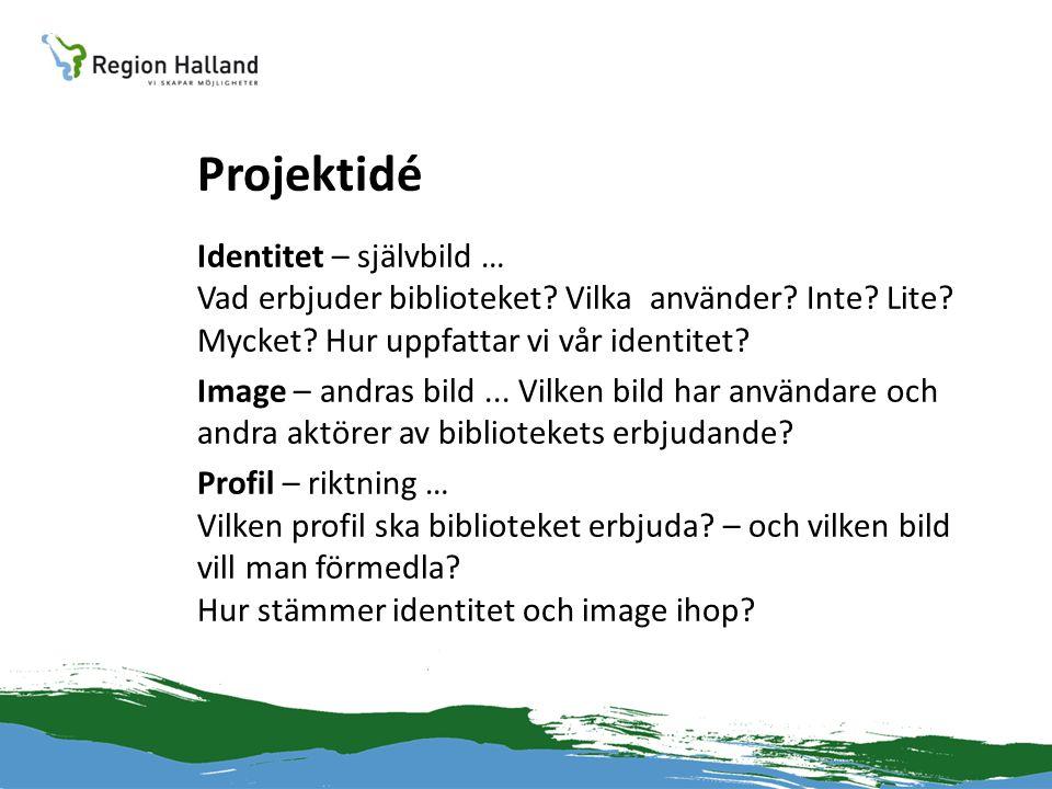 Projektidé Identitet – självbild … Vad erbjuder biblioteket? Vilka använder? Inte? Lite? Mycket? Hur uppfattar vi vår identitet? Image – andras bild..