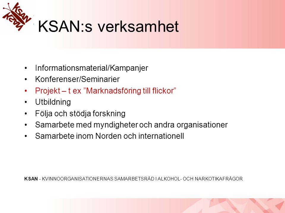 """KSAN:s verksamhet •Informationsmaterial/Kampanjer •Konferenser/Seminarier •Projekt – t ex """"Marknadsföring till flickor"""" •Utbildning •Följa och stödja"""