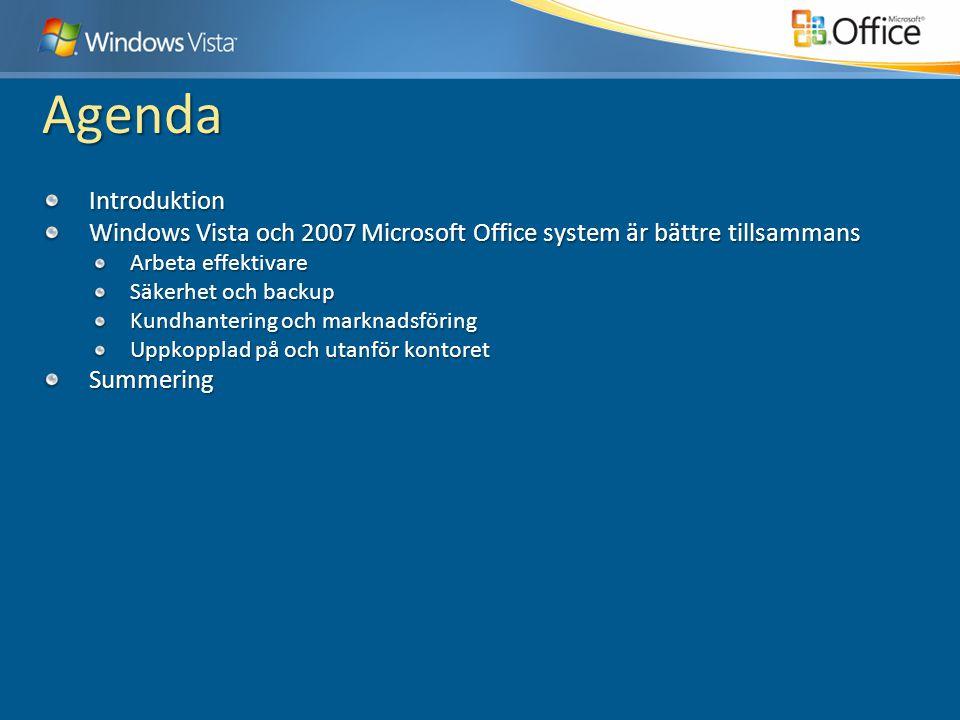 Agenda Introduktion Windows Vista och 2007 Microsoft Office system är bättre tillsammans Arbeta effektivare Säkerhet och backup Kundhantering och mark