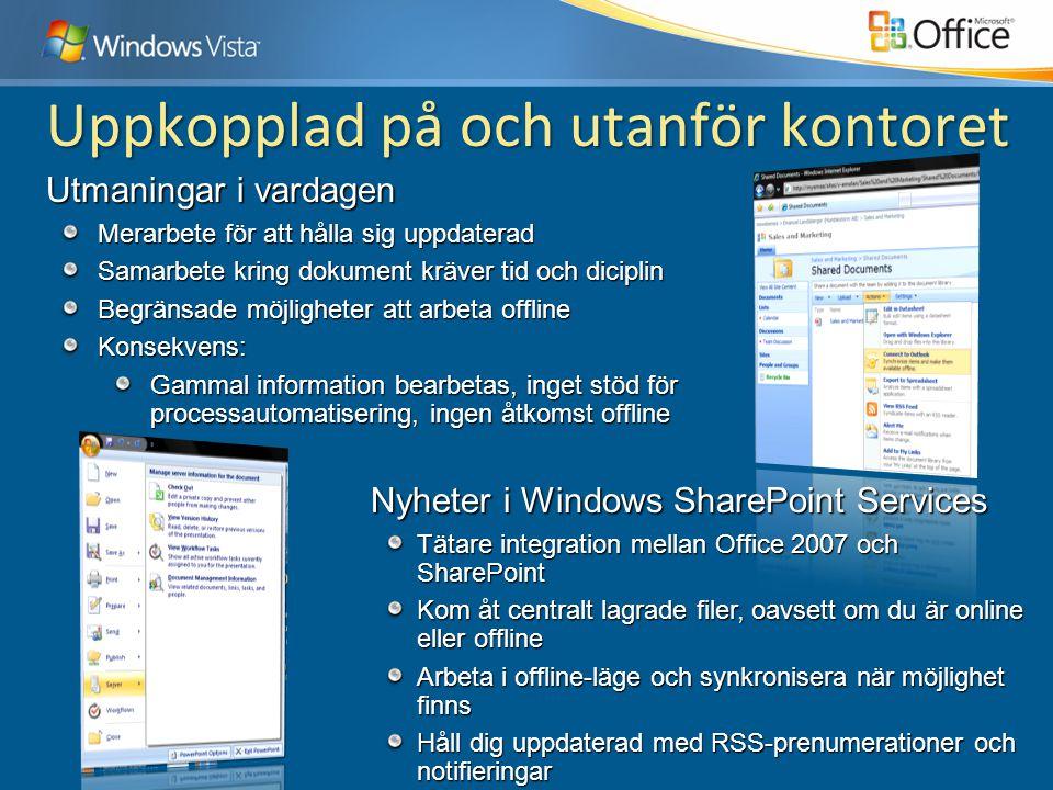 Nyheter i Windows SharePoint Services Tätare integration mellan Office 2007 och SharePoint Kom åt centralt lagrade filer, oavsett om du är online elle