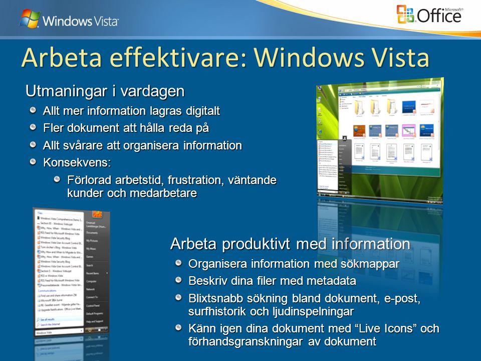 Arbeta effektivare: Windows Vista Arbeta produktivt med information Organisera information med sökmappar Beskriv dina filer med metadata Blixtsnabb sö