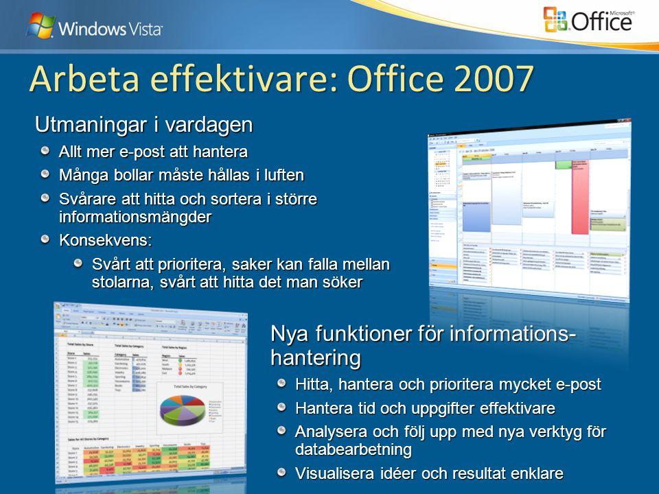 Arbeta effektivare: Office 2007 Nya funktioner för informations- hantering Hitta, hantera och prioritera mycket e-post Hantera tid och uppgifter effek