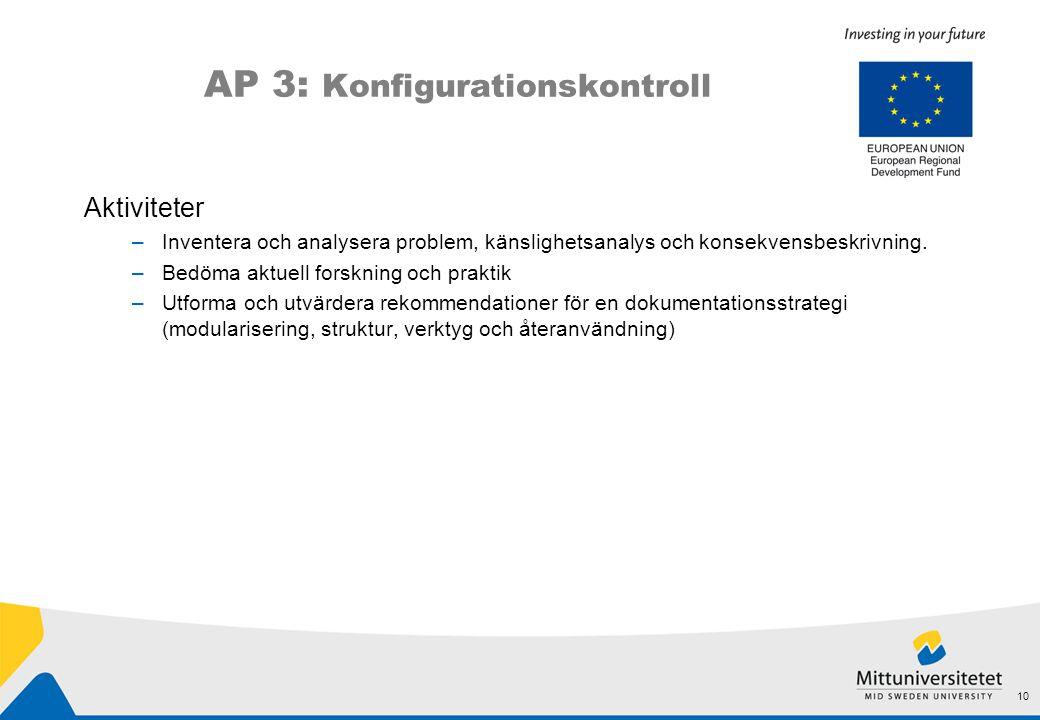 AP 3: Konfigurationskontroll Aktiviteter –Inventera och analysera problem, känslighetsanalys och konsekvensbeskrivning. –Bedöma aktuell forskning och