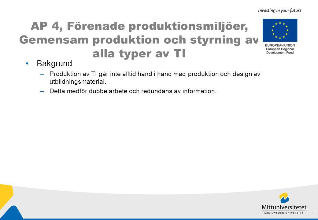 AP 4, Förenade produktionsmiljöer, Gemensam produktion och styrning av alla typer av TI 11 •Bakgrund –Produktion av TI går inte alltid hand i hand med produktion och design av utbildningsmaterial.