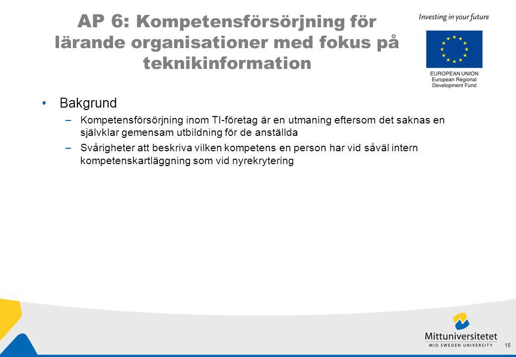 AP 6: Kompetensförsörjning för lärande organisationer med fokus på teknikinformation •Bakgrund –Kompetensförsörjning inom TI-företag är en utmaning ef