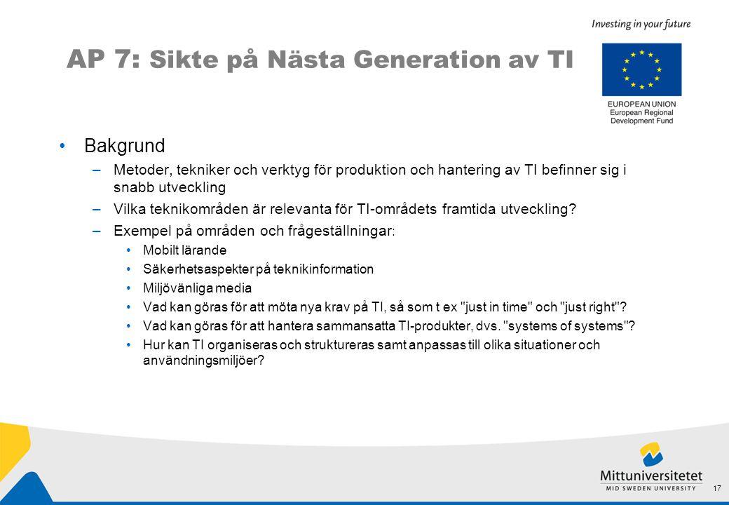 AP 7: Sikte på Nästa Generation av TI •Bakgrund –Metoder, tekniker och verktyg för produktion och hantering av TI befinner sig i snabb utveckling –Vilka teknikområden är relevanta för TI-områdets framtida utveckling.