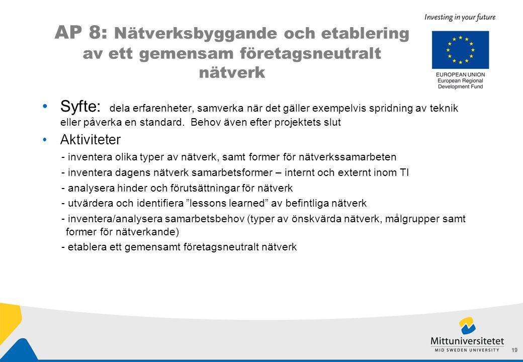 AP 8: Nätverksbyggande och etablering av ett gemensam företagsneutralt nätverk •Syfte: dela erfarenheter, samverka när det gäller exempelvis spridning av teknik eller påverka en standard.