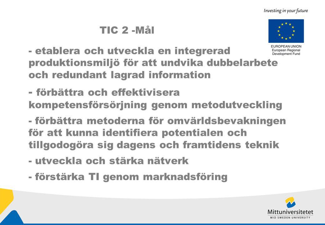 - etablera och utveckla en integrerad produktionsmiljö för att undvika dubbelarbete och redundant lagrad information - förbättra och effektivisera kompetensförsörjning genom metodutveckling - förbättra metoderna för omvärldsbevakningen för att kunna identifiera potentialen och tillgodogöra sig dagens och framtidens teknik - utveckla och stärka nätverk - förstärka TI genom marknadsföring TIC 2 -Mål