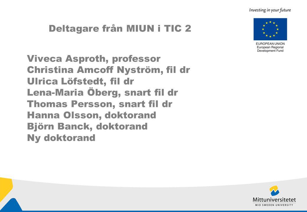 Viveca Asproth, professor Christina Amcoff Nyström, fil dr Ulrica Löfstedt, fil dr Lena-Maria Öberg, snart fil dr Thomas Persson, snart fil dr Hanna Olsson, doktorand Björn Banck, doktorand Ny doktorand Deltagare från MIUN i TIC 2