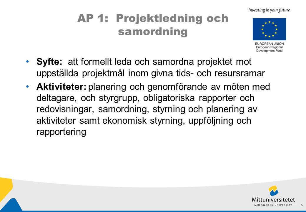 AP 1: Projektledning och samordning •Syfte: att formellt leda och samordna projektet mot uppställda projektmål inom givna tids- och resursramar •Aktiviteter: planering och genomförande av möten med deltagare, och styrgrupp, obligatoriska rapporter och redovisningar, samordning, styrning och planering av aktiviteter samt ekonomisk styrning, uppföljning och rapportering 5
