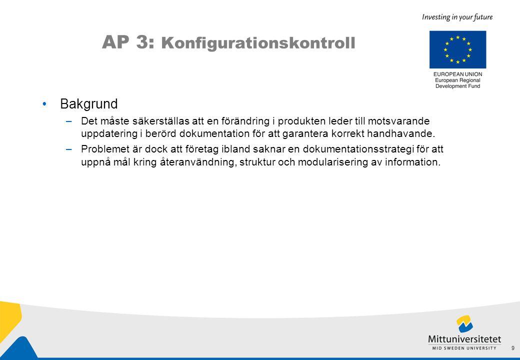 AP 3: Konfigurationskontroll •Bakgrund –Det måste säkerställas att en förändring i produkten leder till motsvarande uppdatering i berörd dokumentation