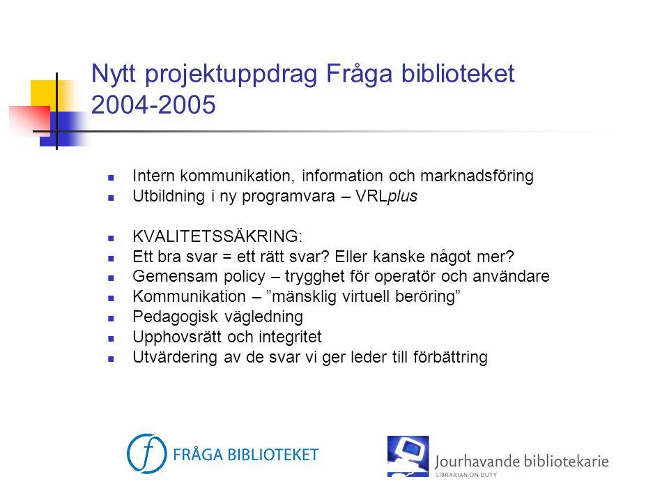 Projektuppdrag - Jourhavande bibliotekarie 2003-2004  SYFTE: överföra campusbibliotekens pedagogiska förhållningssätt i informationssökning till en virtuell miljö.