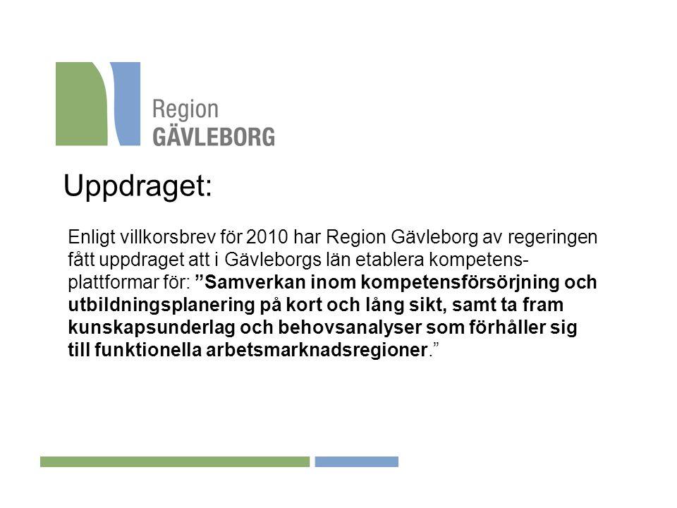 """Uppdraget: Enligt villkorsbrev för 2010 har Region Gävleborg av regeringen fått uppdraget att i Gävleborgs län etablera kompetens- plattformar för: """"S"""