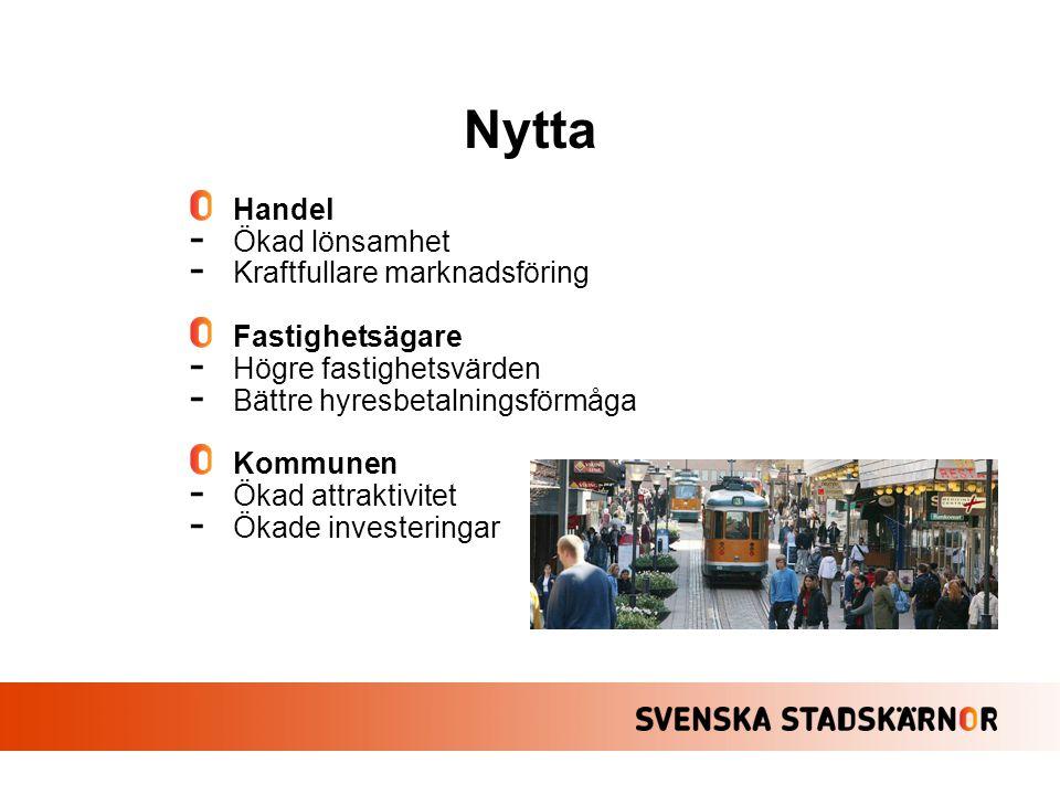 Handel - Ökad lönsamhet - Kraftfullare marknadsföring Fastighetsägare - Högre fastighetsvärden - Bättre hyresbetalningsförmåga Kommunen - Ökad attrakt