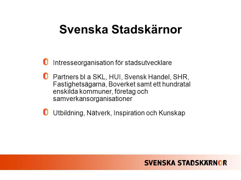 Intresseorganisation för stadsutvecklare Partners bl a SKL, HUI, Svensk Handel, SHR, Fastighetsägarna, Boverket samt ett hundratal enskilda kommuner,