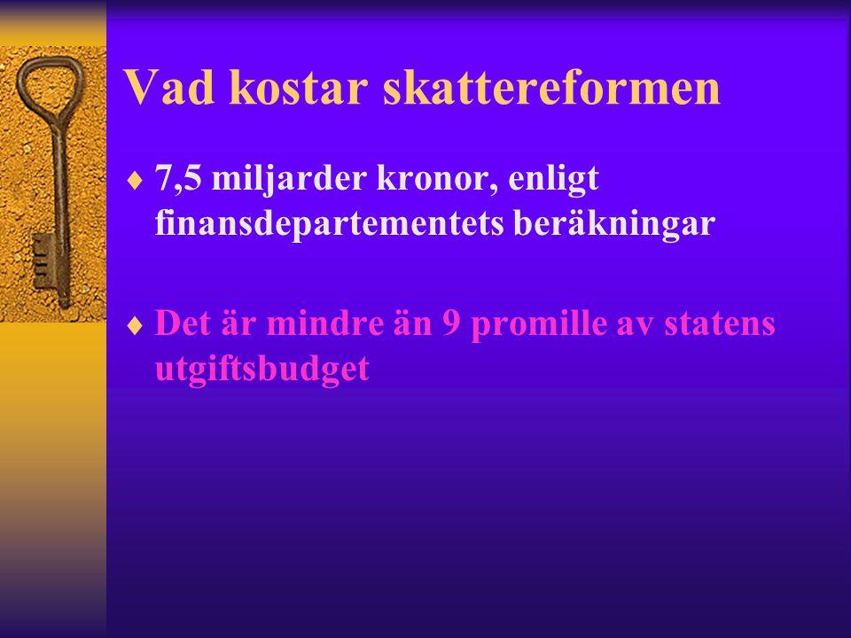 Vad kostar skattereformen  7,5 miljarder kronor, enligt finansdepartementets beräkningar  Det är mindre än 9 promille av statens utgiftsbudget