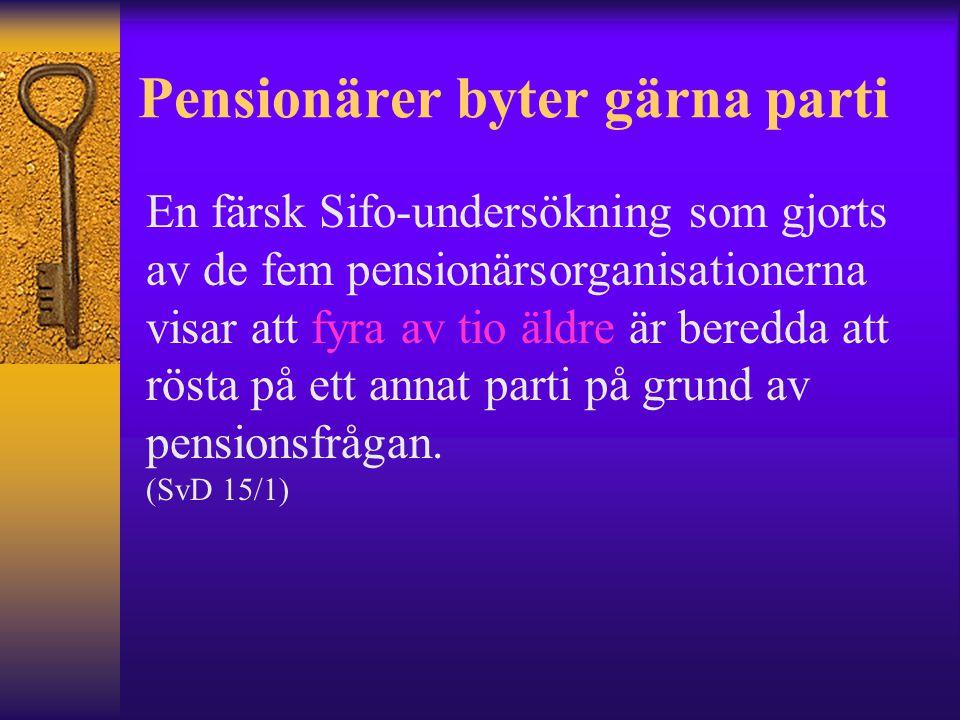 Pensionärer byter gärna parti En färsk Sifo-undersökning som gjorts av de fem pensionärsorganisationerna visar att fyra av tio äldre är beredda att rösta på ett annat parti på grund av pensionsfrågan.