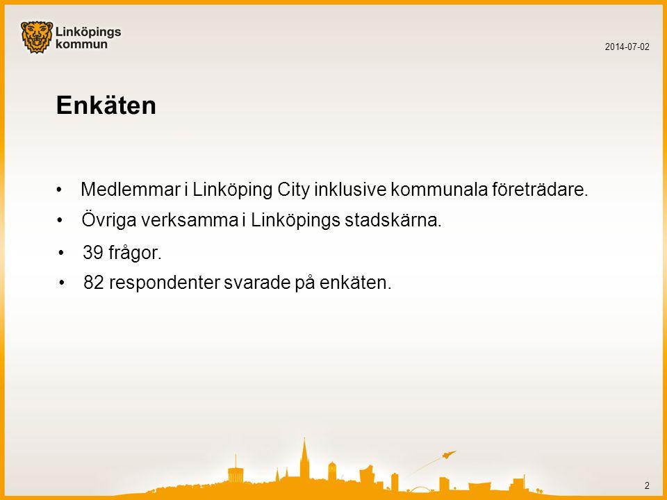 Enkäten •Medlemmar i Linköping City inklusive kommunala företrädare.