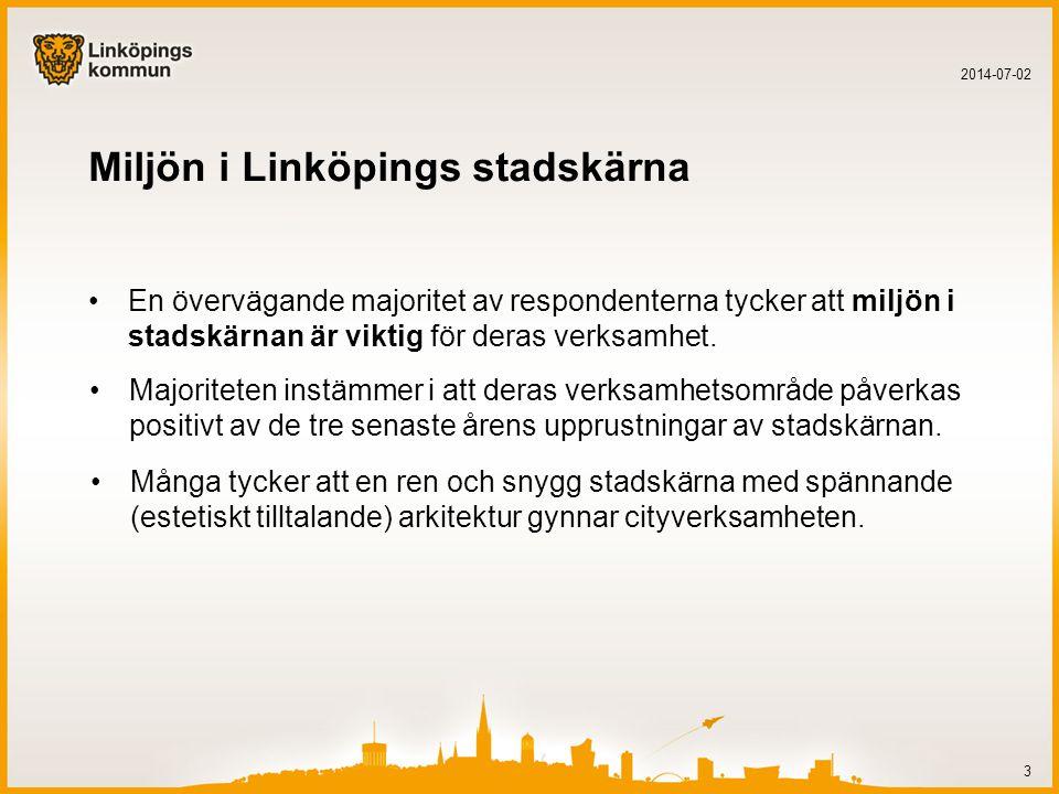 Trygghet i Linköpings stadskärna •En stor majoritet av respondenter tycker att tryggheten i stadskärnan är mycket viktig för deras verksamhetsområde.